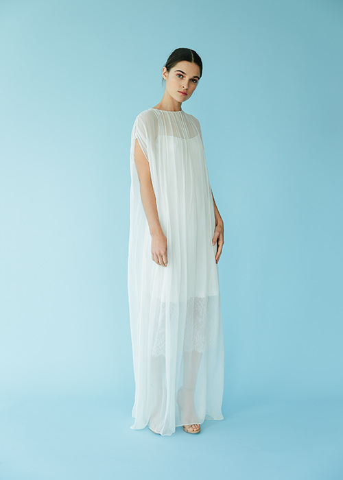Silk chiffon and silk charmeuse slip with chantilly lace trim