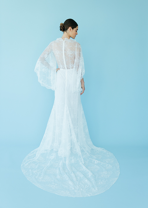 Chantilly lace with scallop trim in edgy bridal gown
